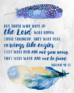 Wings Like Eagles Isaiah 40:31 Scripture Watercolor Wall Art
