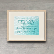 Load image into Gallery viewer, Peace of Mind and Heart John 14:27 Watercolor Inspirational Wall Art
