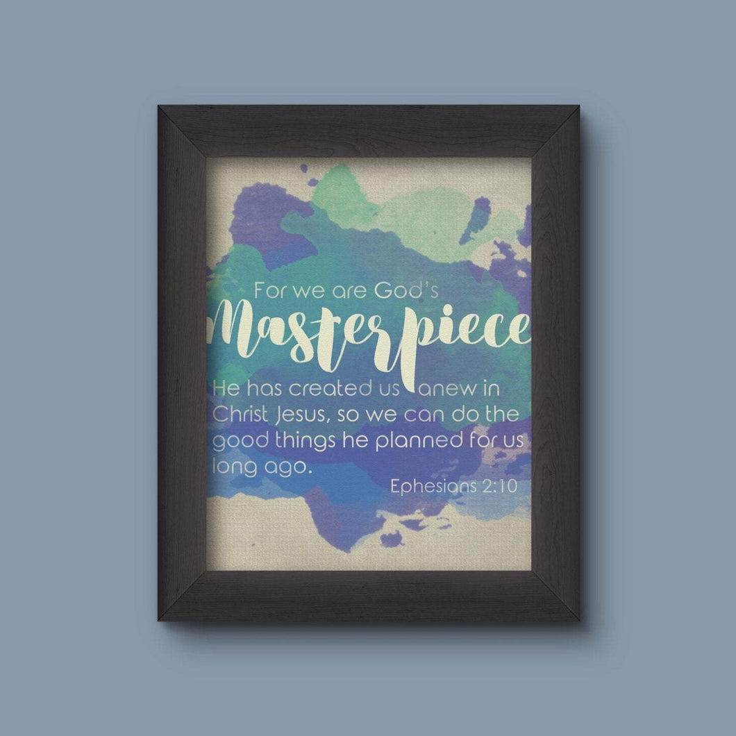 God's Masterpiece Ephesians 2:10 Scripture Watercolor Wall Art