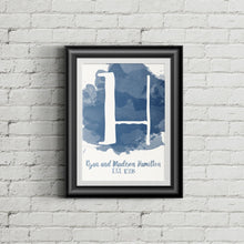 Load image into Gallery viewer, Customizable Watercolor Initial Monogram with Family Name and Established Date Wall Art