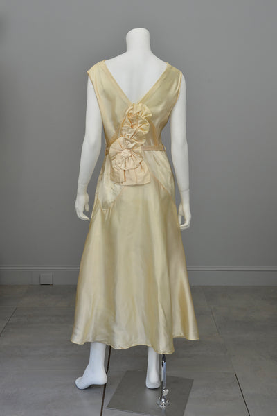 1920s 30s Cream Satin Florette Swag Dress
