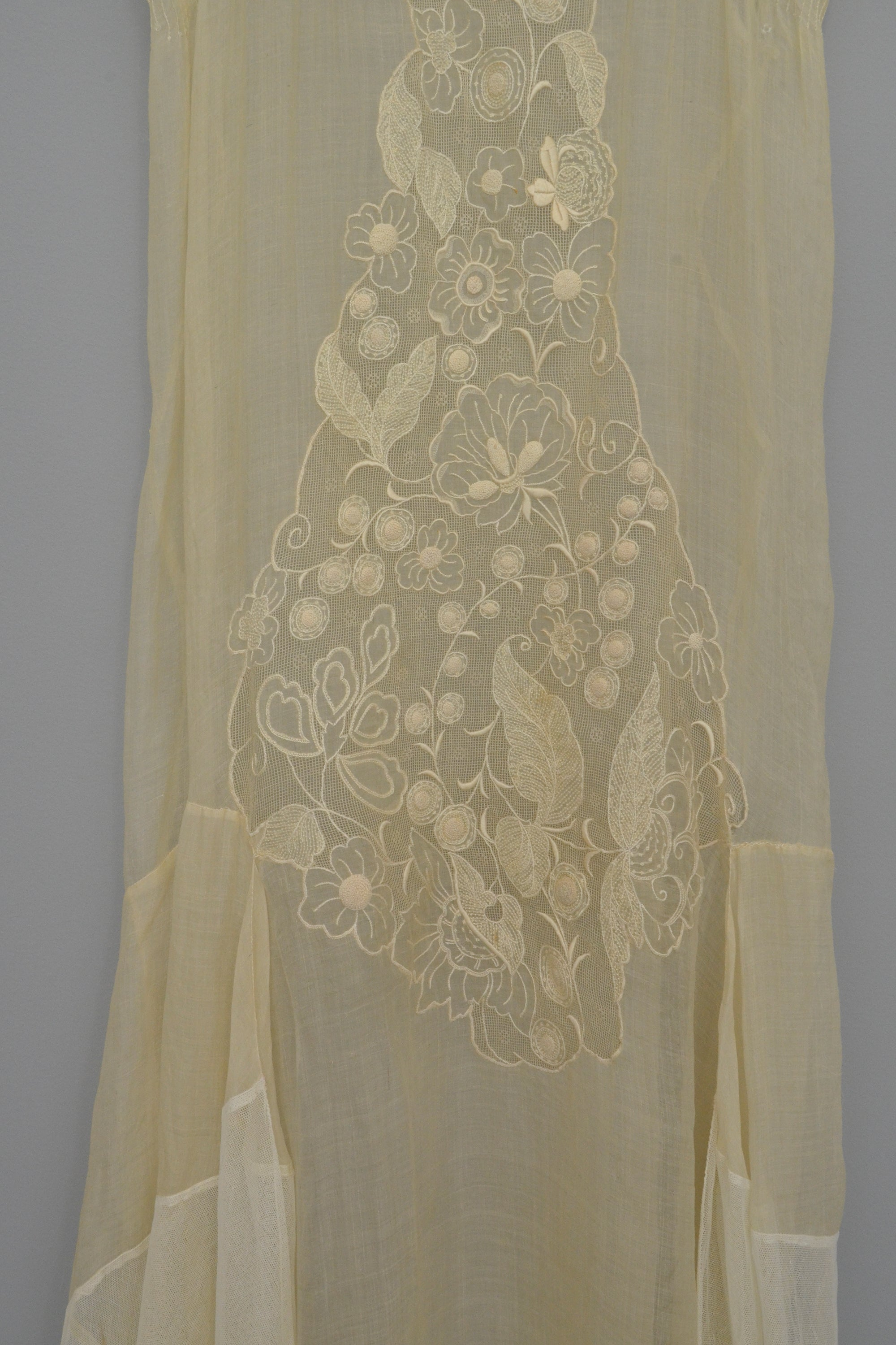 1920s 30s Deco Sheer Gauzy Embroidered Organza + Netting Gown | Flapper | Wedding Gown