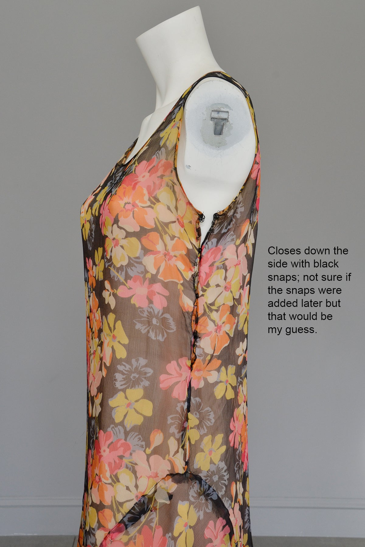 1920s 30s Pink Yellow Floral Print on Charcoal Grey Chiffon Flapper Dress | Restoration needed