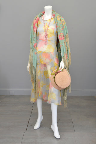 1920s 30s Pastel Floral Print Chiffon Jazz Age Flapper Dress TLC