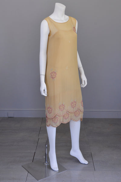 1920s Beaded Flapper Dress | Camel Color with Pink and Green Beading | Restoration or Study