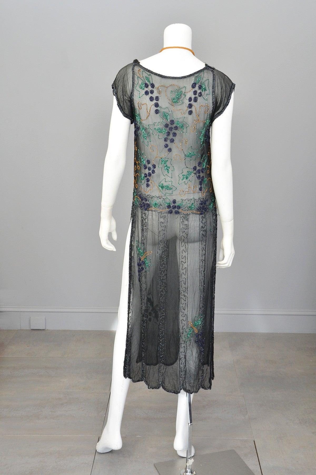 1920s Black Chiffon Purple Gold Green Grapes Beaded Tabard Dress