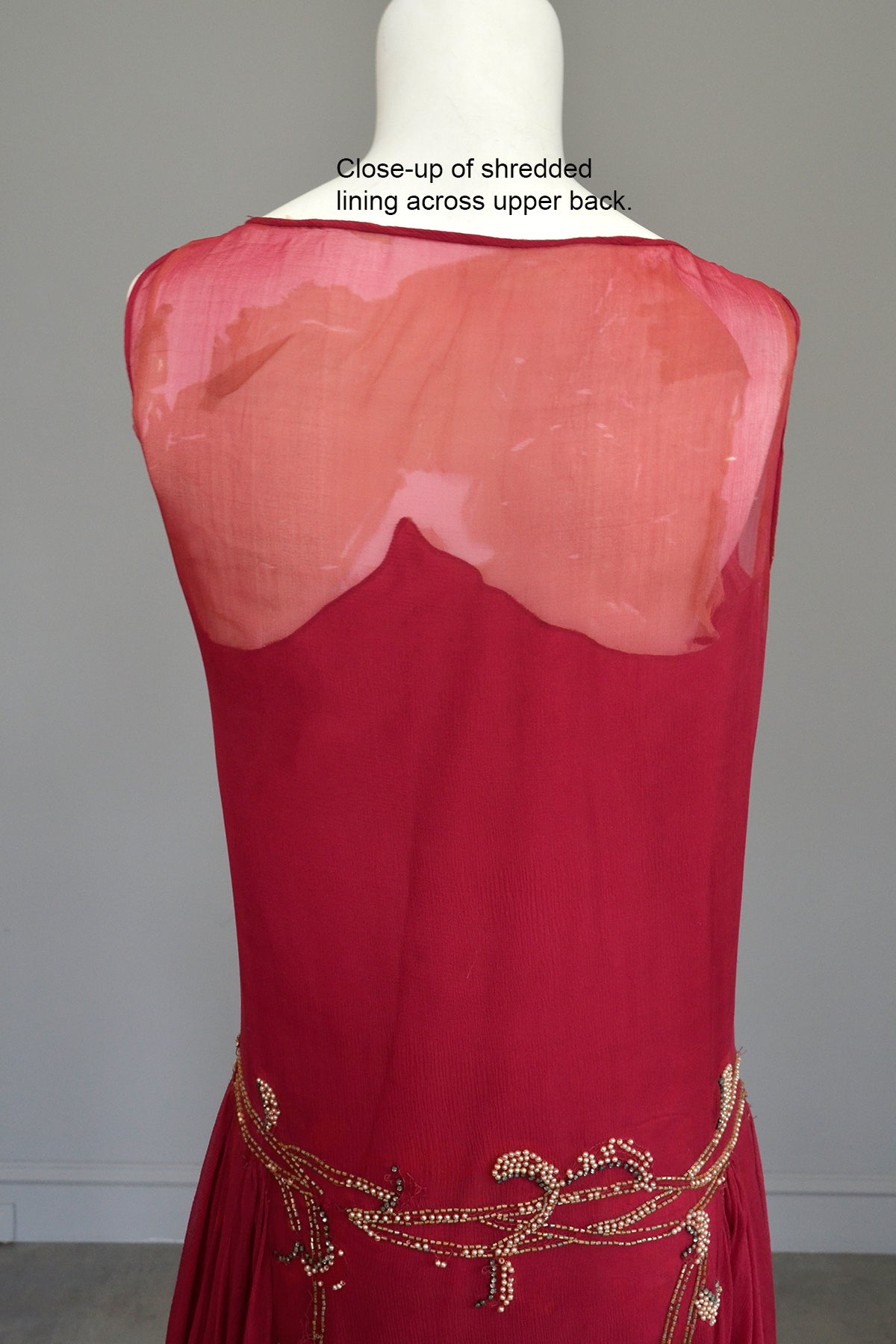 1920s Cranberry Chiffon Beaded Flapper Dress for Restoration