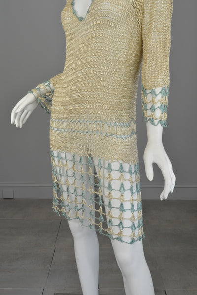 1920s Cream And Aqua Vintage Crochet Flapper Dress