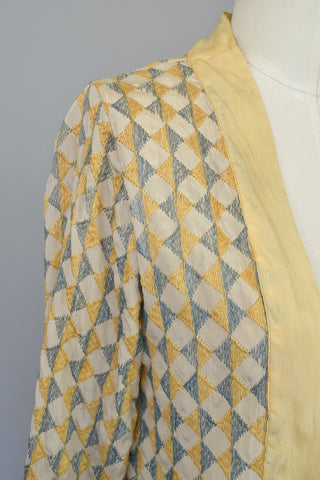 1920s Deco Harlequin Embroidered Jacket Duster
