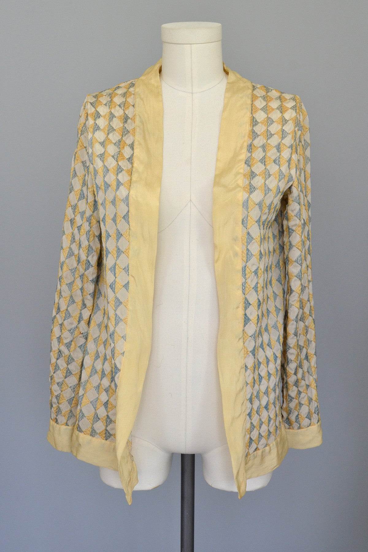 RESERVED 1920s Deco Harlequin Embroidered Jacket Duster
