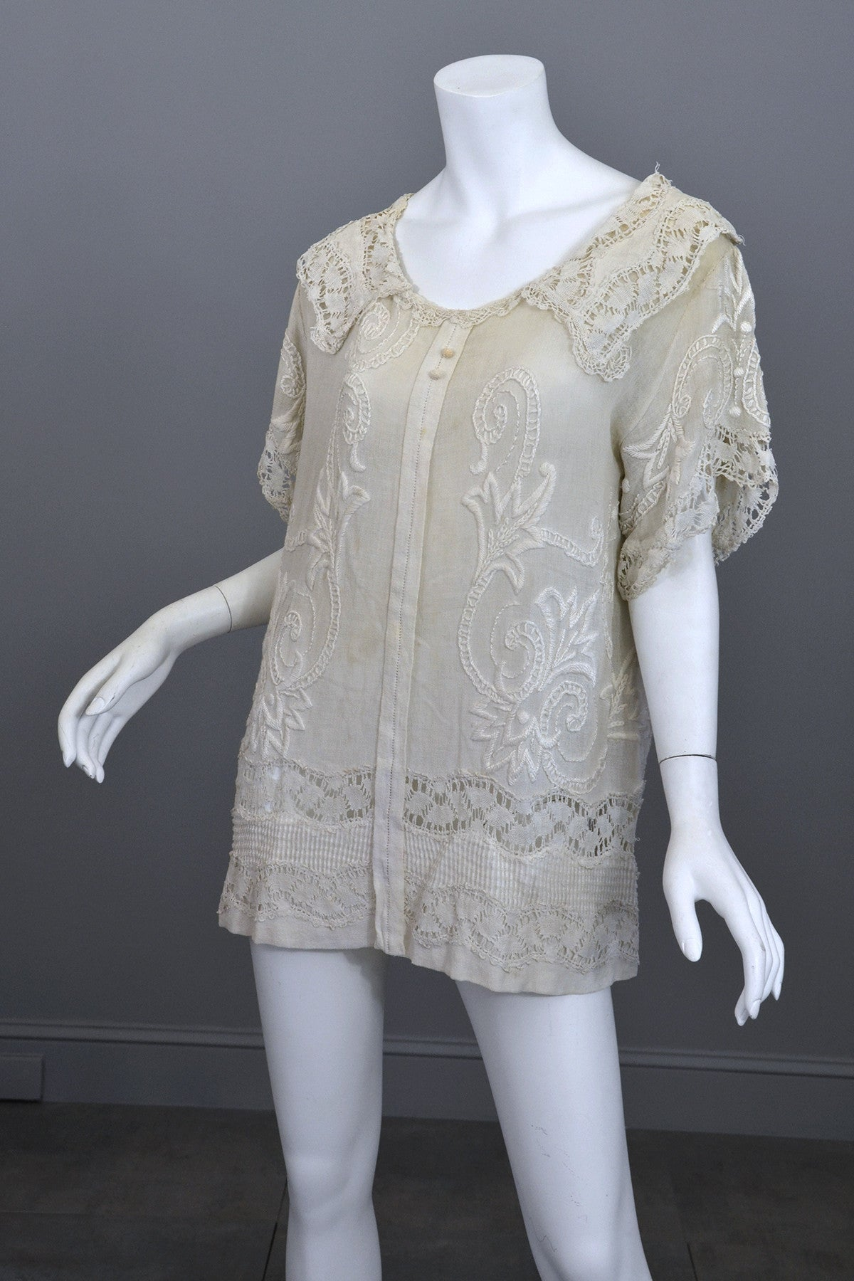 Deco 20s Embroidered Gauze Tunic Lace Top