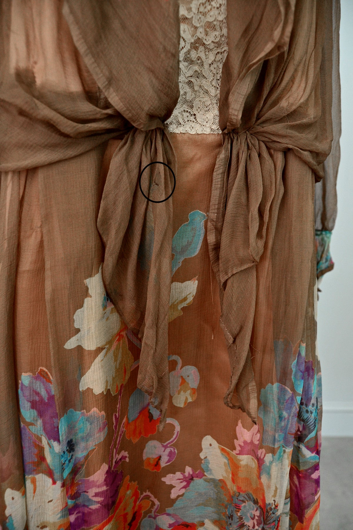 1920s Mocha Chiffon and Lace Vintage Flapper Dress with Vibrant Floral Print