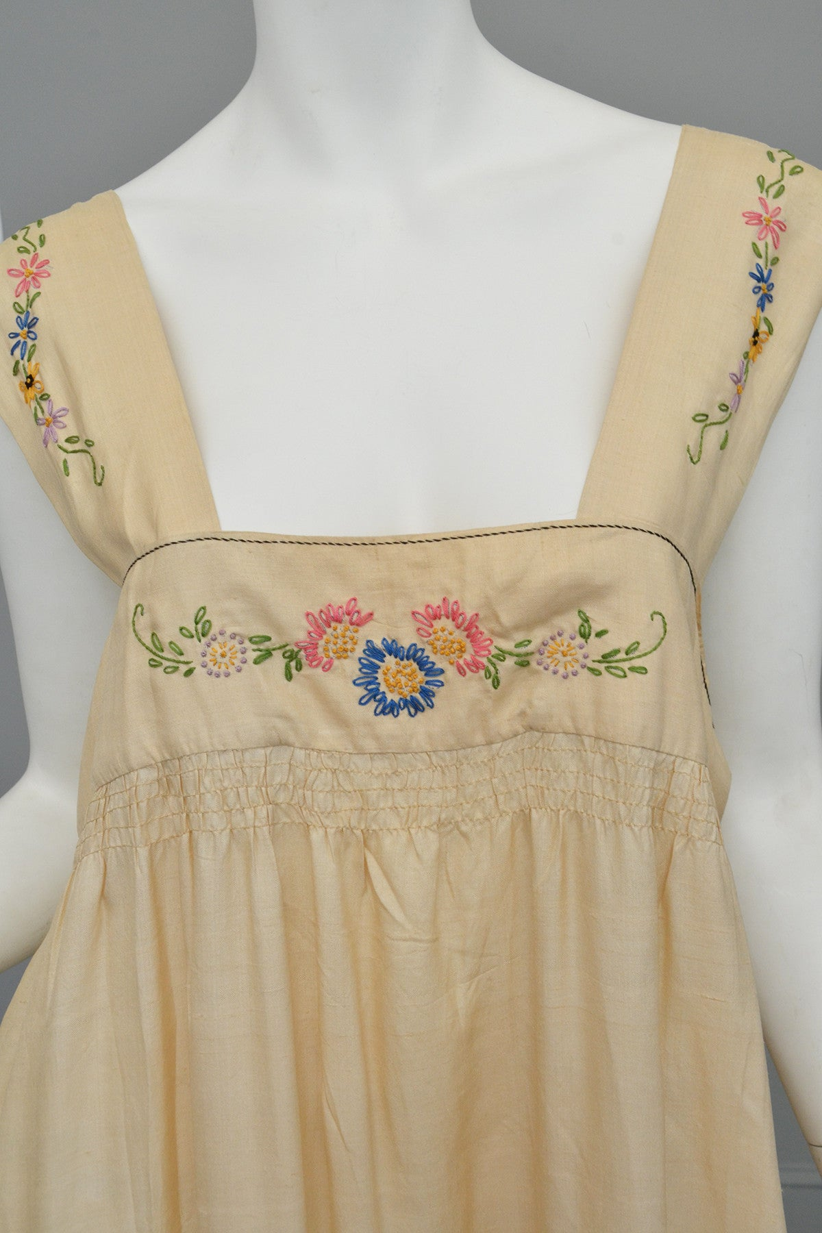 1920s Embroidered Silk Babydoll Maxi Dress Nightgown