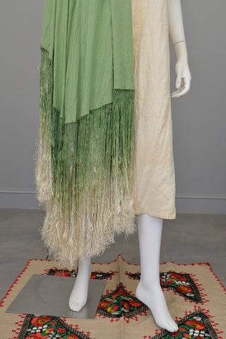 1920s Avocado Green Ombré Fringe Shawl