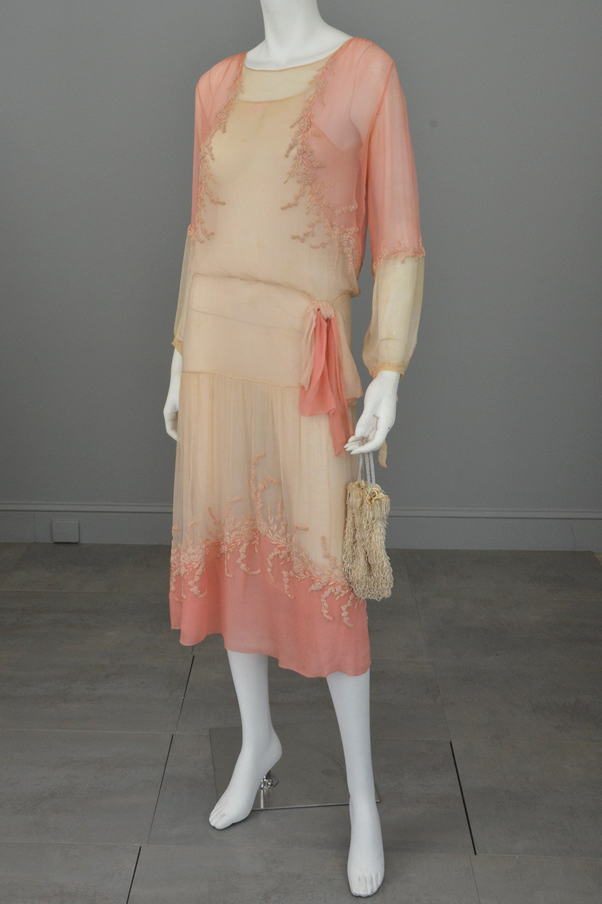 1920s Pink Cream Silk Chiffon French Knots Embroidered Peasant Dress/Restoration piece