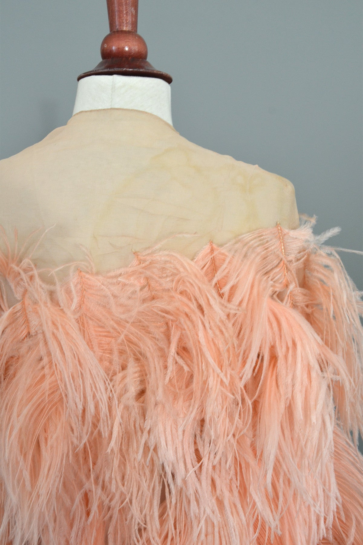 1920s Pink Feather Deco Shawl Cape Shrug