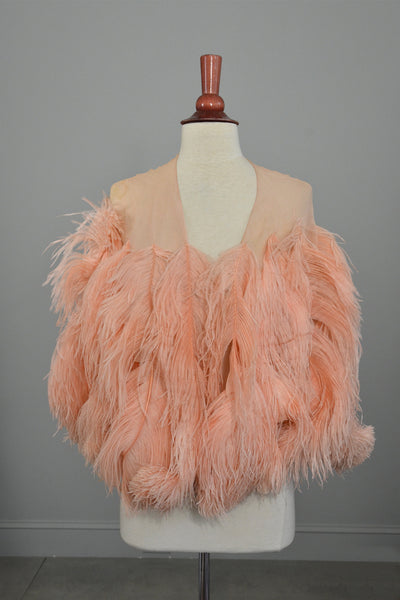 1920s Pink Feather Deco Shawl Cape Shrug Vintagevirtuosa