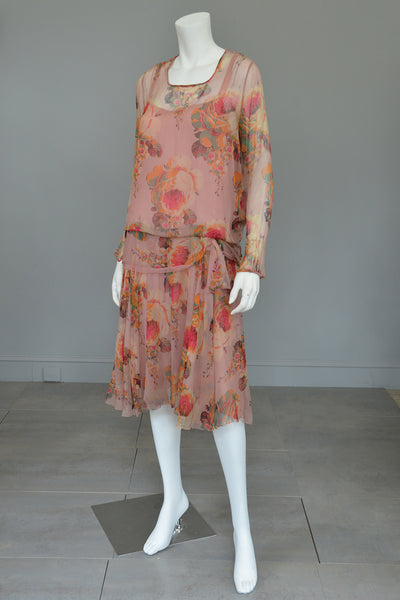 1920s Pink Floral Chiffon Flapper Dress needs TLC