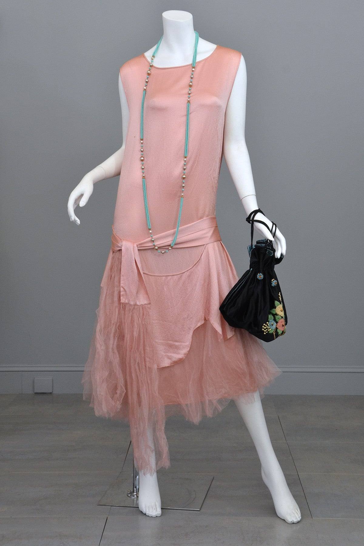 1920s Deco Pink Satin and Tulle Ballerina Flapper Dress