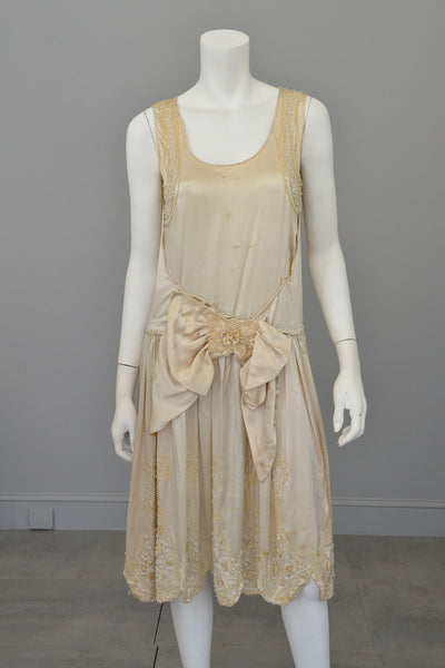 1920s Satin beaded with florettes Flapper Weeding Dress for restoration