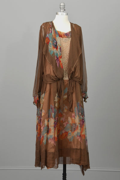 1920s Mocha Chiffon And Lace Vintage Flapper Dress With