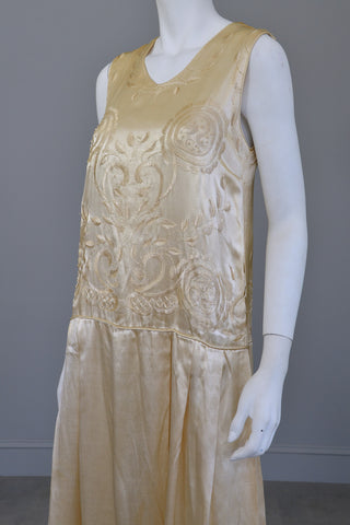 1920s Embroidered Satin Vintage Flapper Wedding Dress
