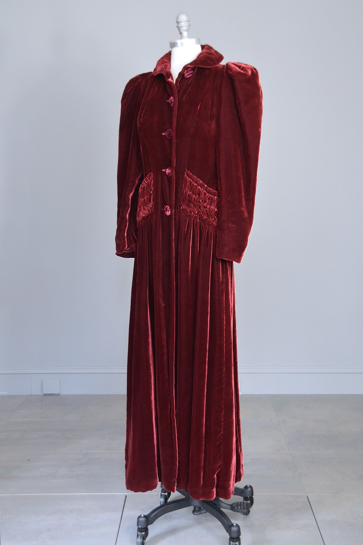 1930s 40s Merlot Velvet Maxi Vintage Evening Dress Coat