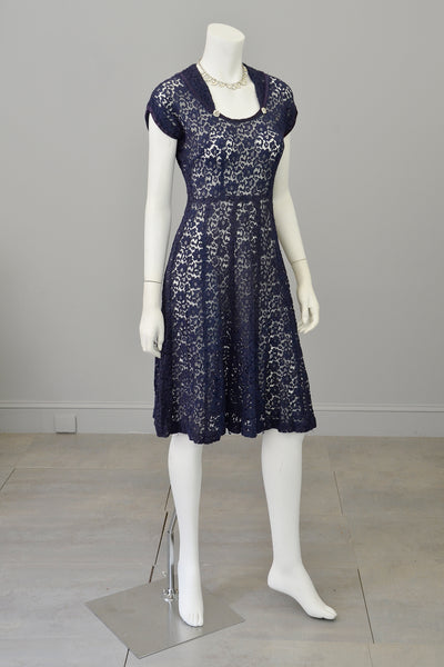 1940s Navy Blue Embroidered Lace Dress Vintagevirtuosa