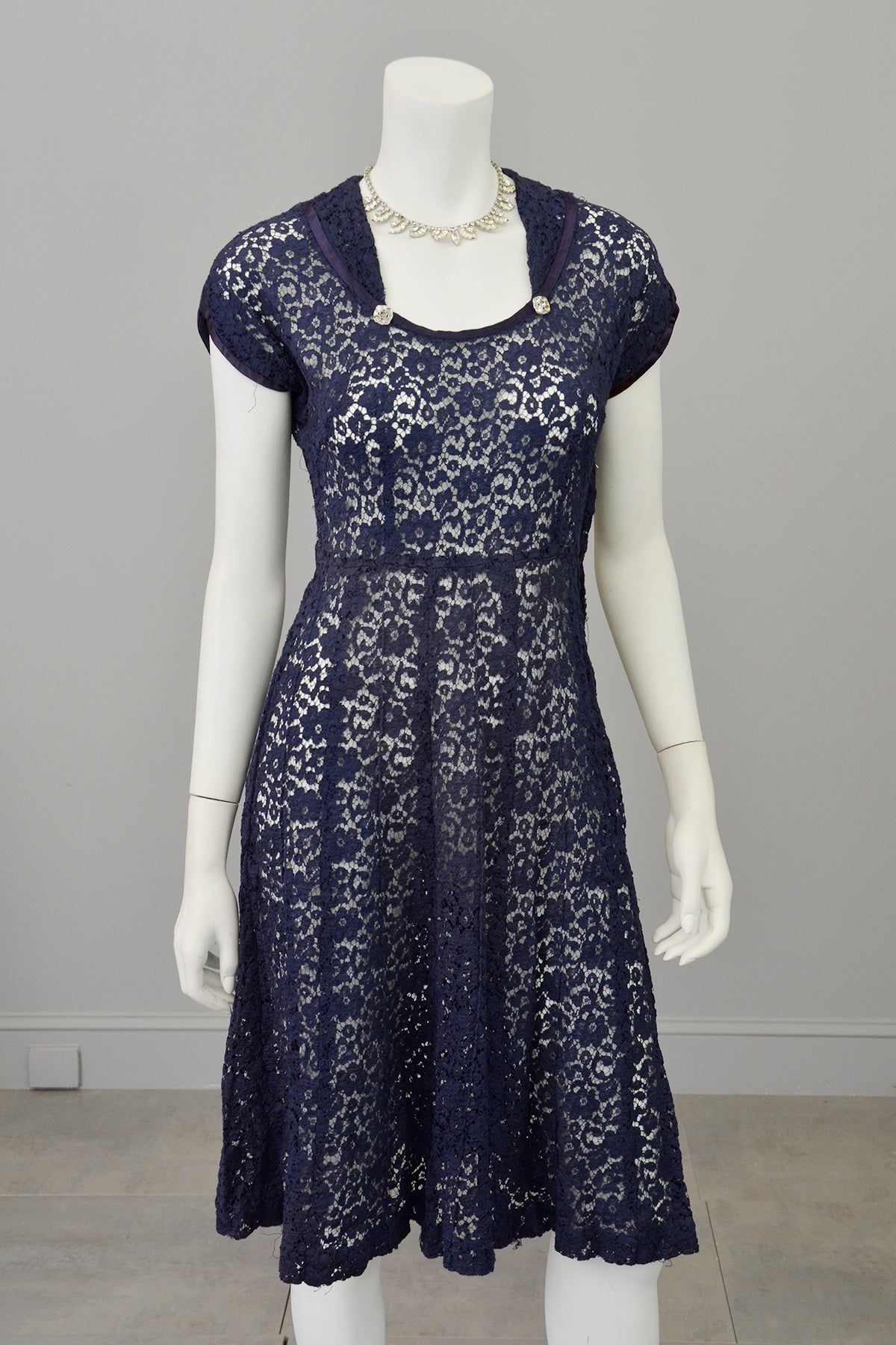 1940s Navy Blue Embroidered Lace Dress