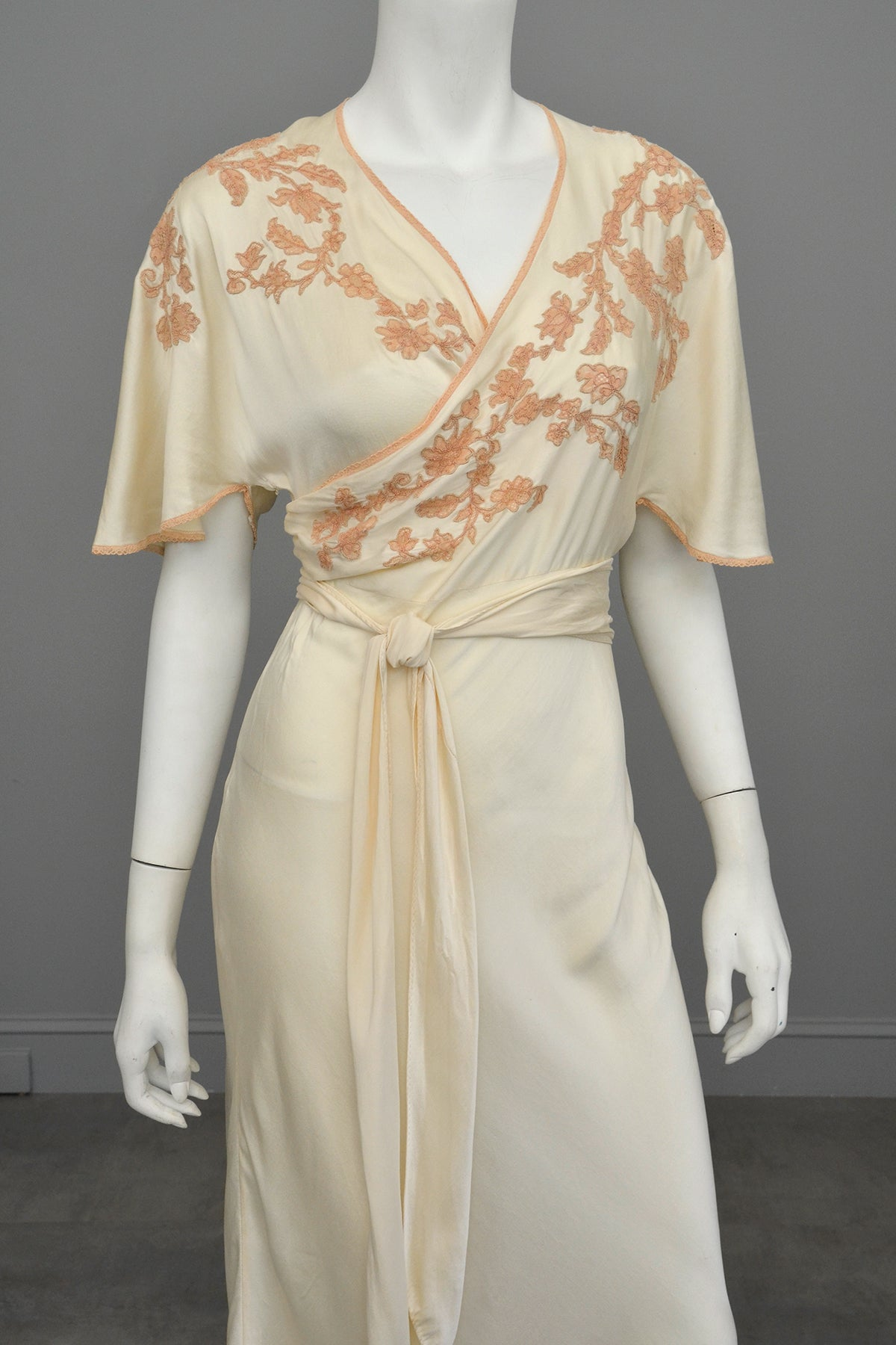 1930s Silk Embroidered Wrap Nightgown Dress w Kimono Style Flutter Sleeves