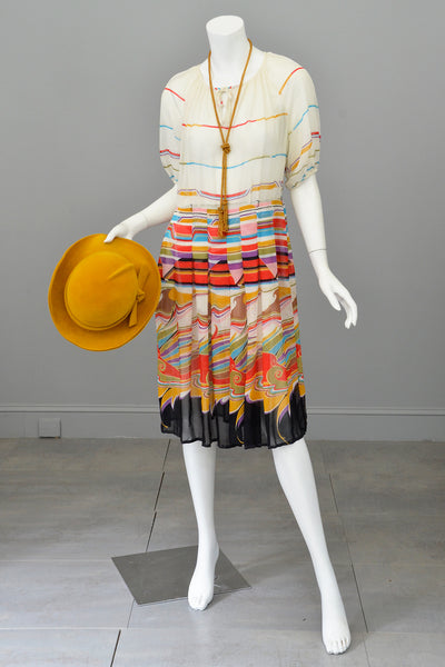 Vintage 1930s Style Peasant Dress in Vibrant Geometric Print