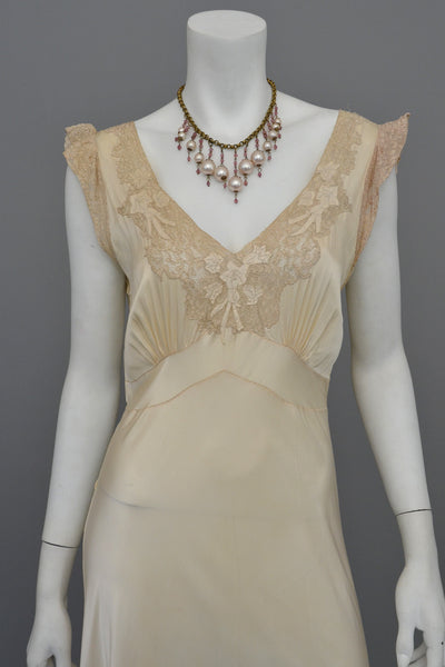 1930s Cream Satin Lace Vintage Gown Negligee Nightgown