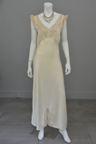 dfe7e6240b5 ... 1930s Cream Satin Lace Vintage Gown Negligee Nightgown