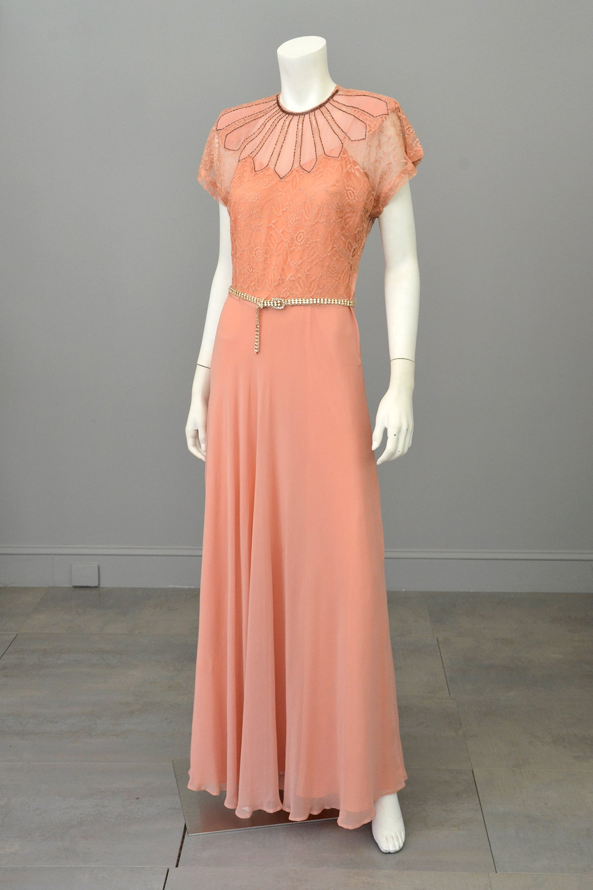 1930s Peach Art Deco Beaded Lace Gown | VintageVirtuosa
