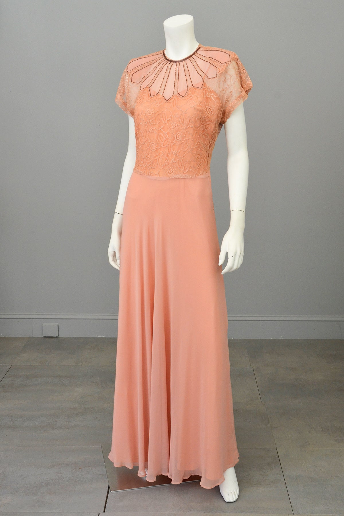 1930s Peach Art Deco Beaded Lace Gown