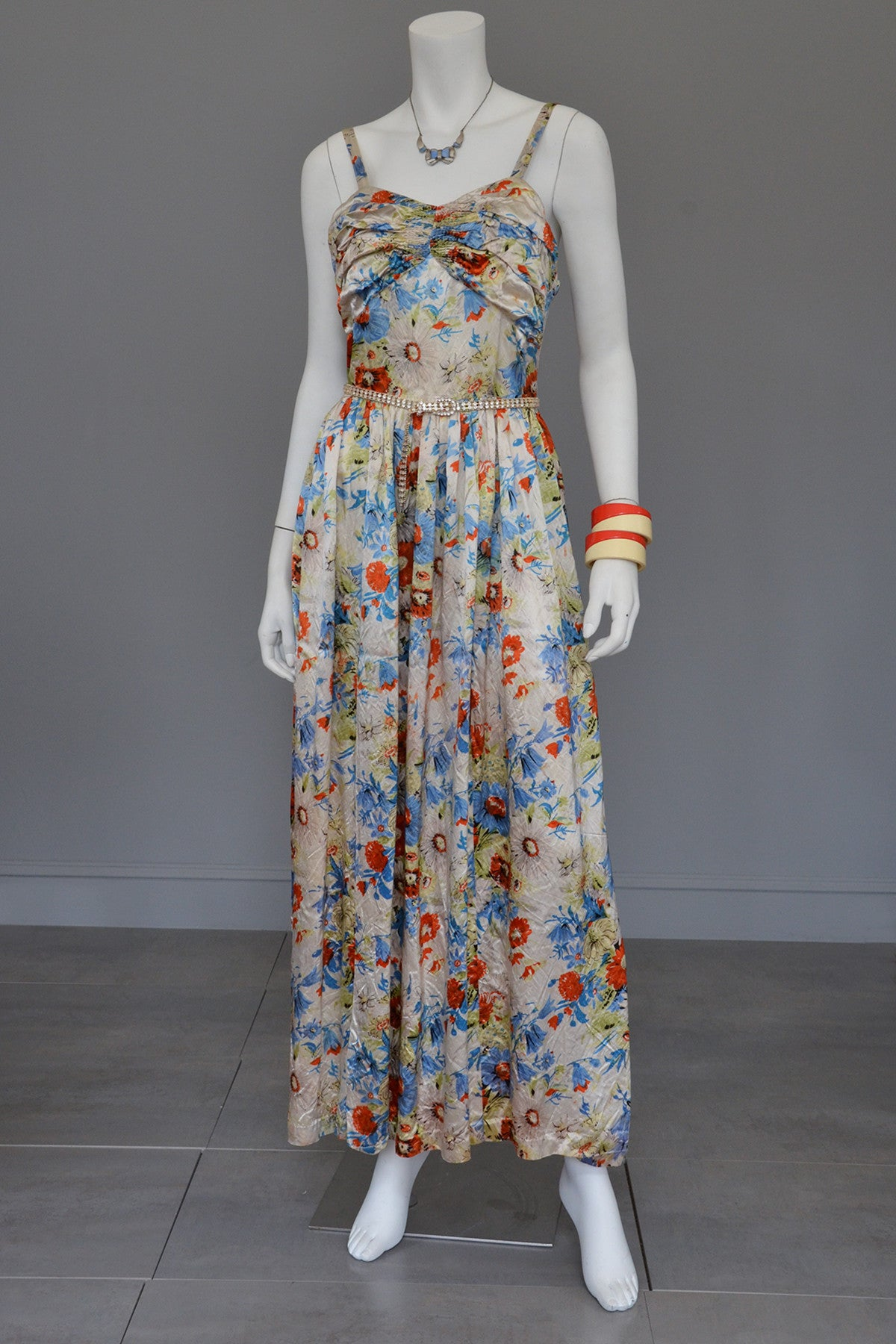 Vintage 30s Floral Satin Gathered Bust Evening Gown