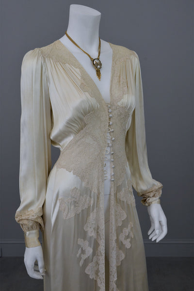 1930s vintage silk and lace robe deco negligee robe