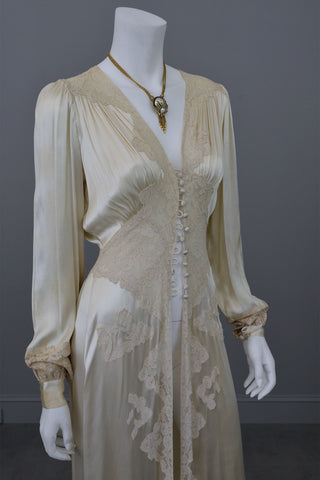 1930s vintage silk and lace robe deco negligee robe ... 890f8faa9