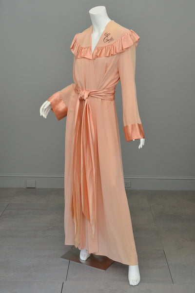 1930s Peach Crepe Satin Rubble Glamorous Robe - Call me Eda
