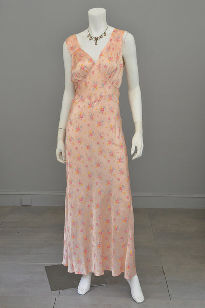 1930s Peach Floral Print Negligee Slip Dress