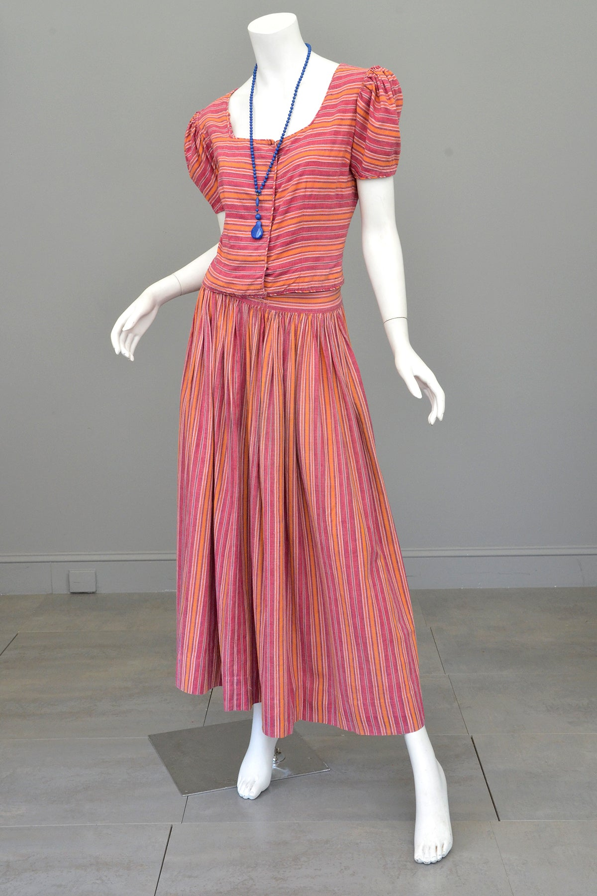 1930s 40s Puff Sleeve Peasant Folk Top + Skirt Two Piece Dress Saks