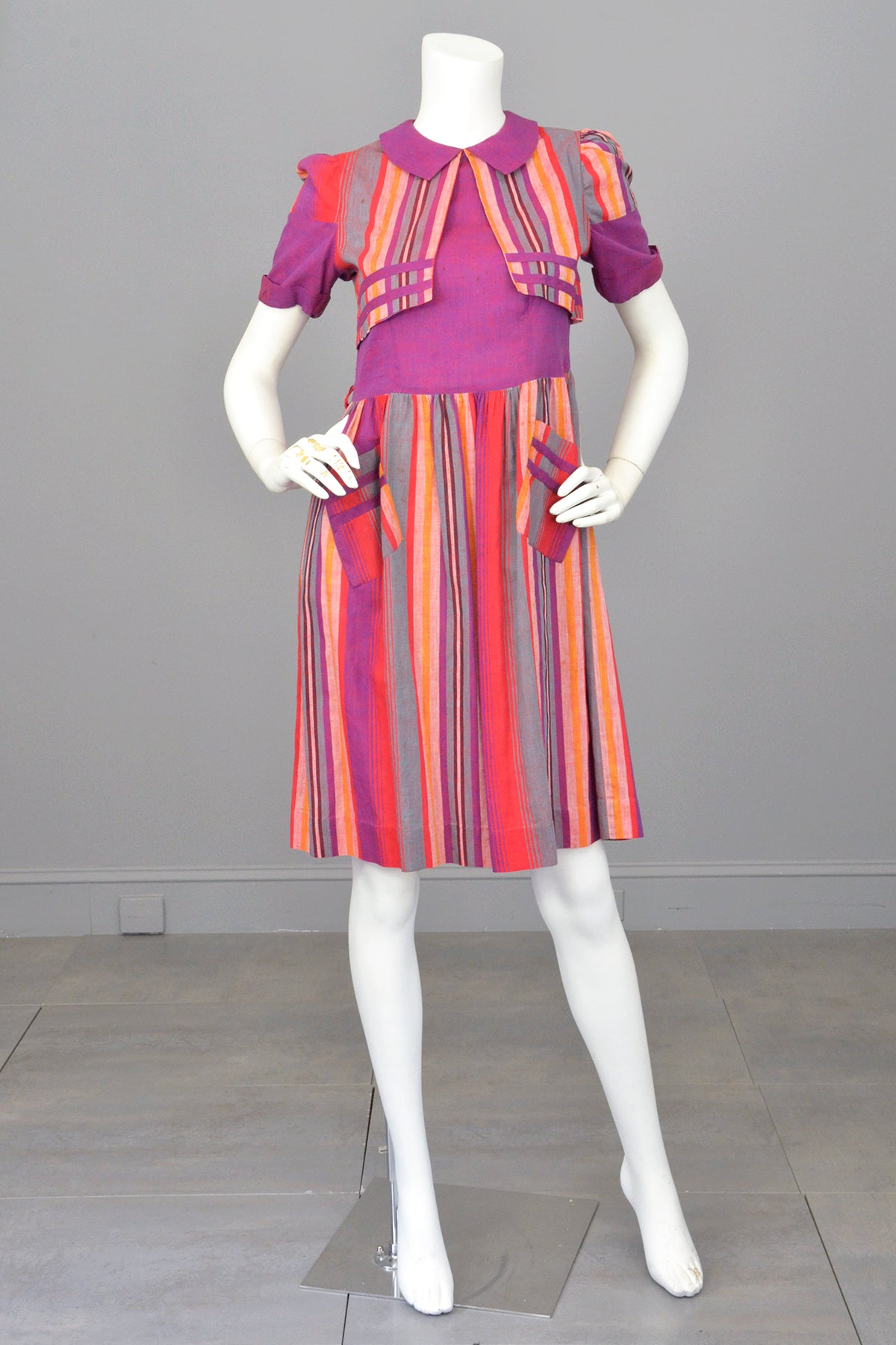 1930s 1940s Purple Red Carnival Striped Dress w Pockets | TLC As-Is