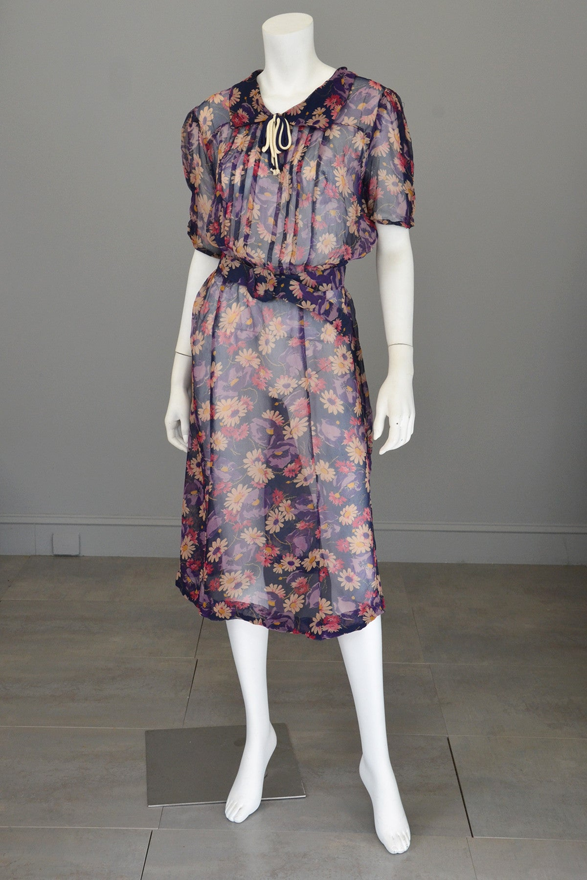 1930s Sheer Crepe Floral Print Darling Dress