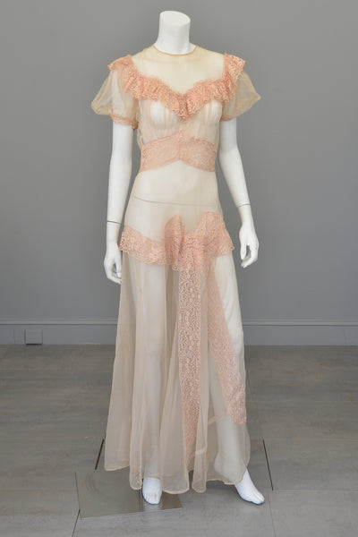 1930s Shell Pink Lace Ruffles Puff Sleeves Gown Mesh