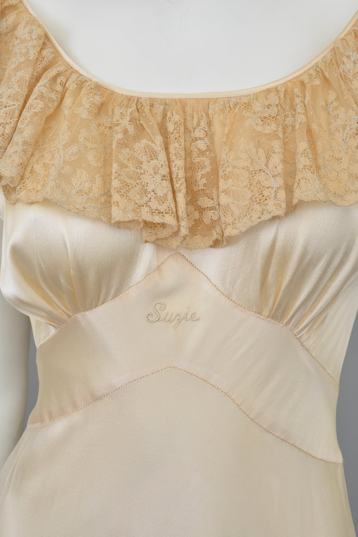 1930s Silk Satin Lace Flounce Negligee Gown Slip Suzie Dress