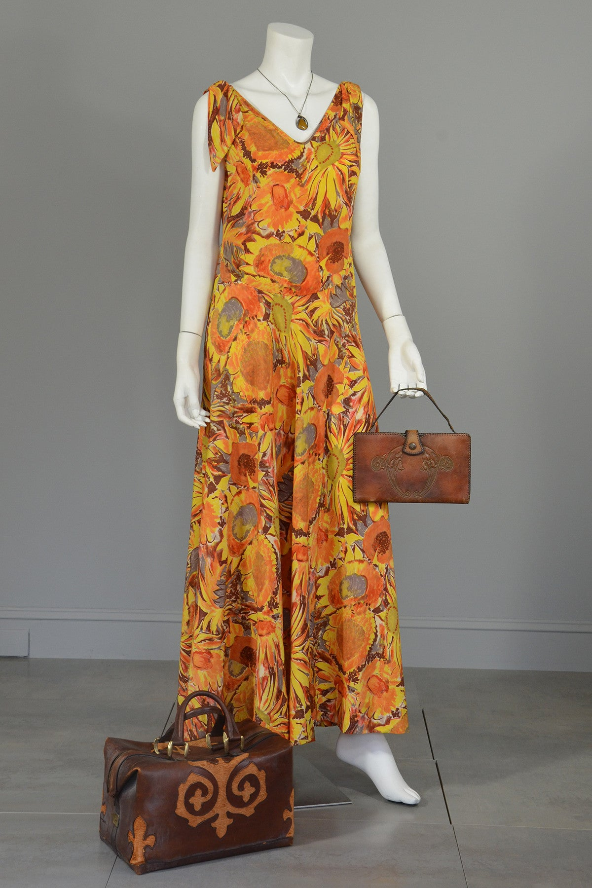 30s Sunflower Print Mermaid High Low Maxi Dress Gown