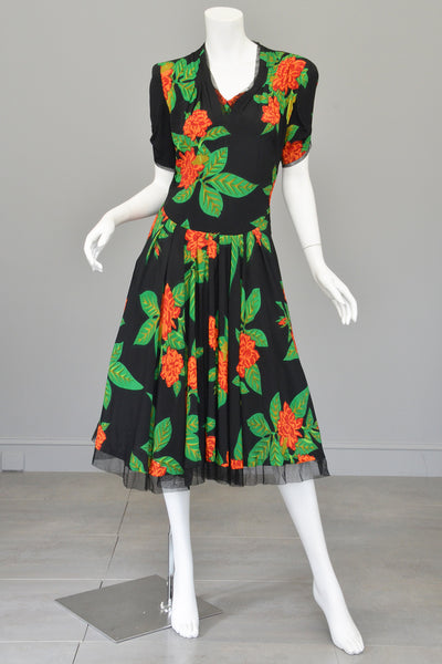 Vintage 1940s Novelty Print Party Dress Tropical Print