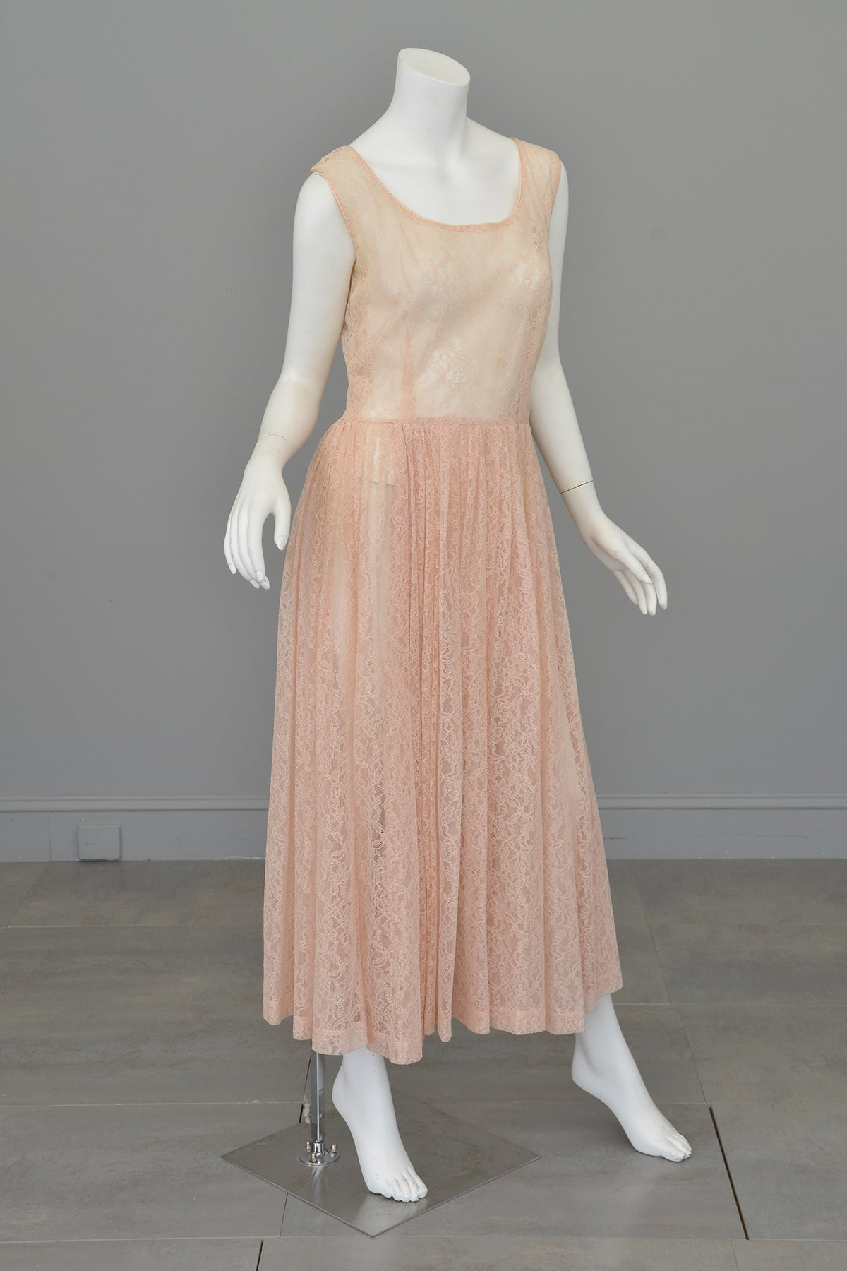 1940s 50s Sheer Light Pink Embroidered Lace Gown