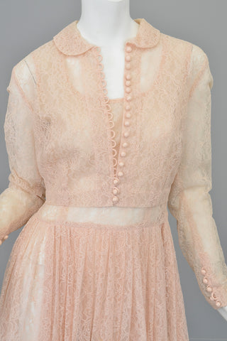 1940s 50s Sheer Light Pink Embroidered Lace Victorian Style Jacket Blouse