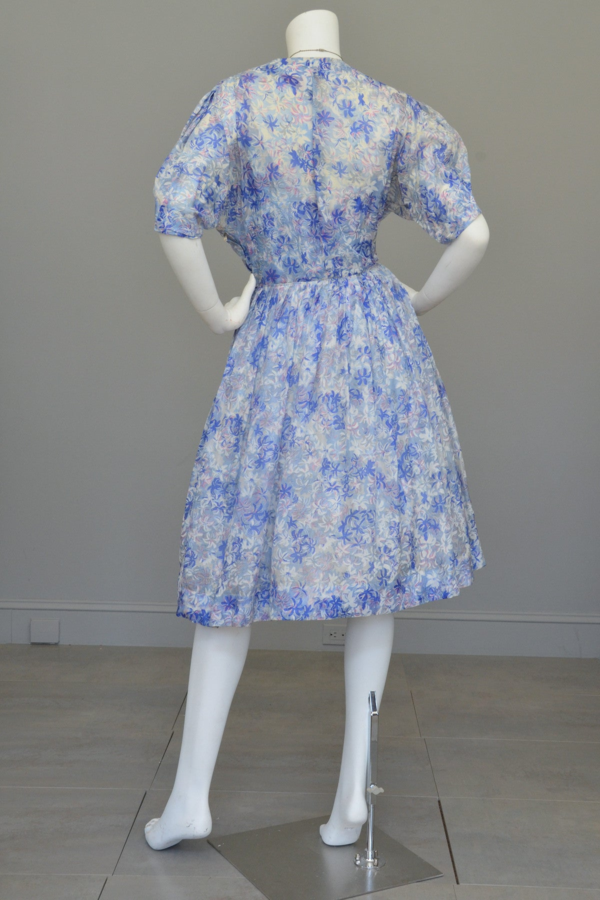1940s 50s Semi Sheer Petal Print Two Piece Party Dress by Henry Rosenfeld